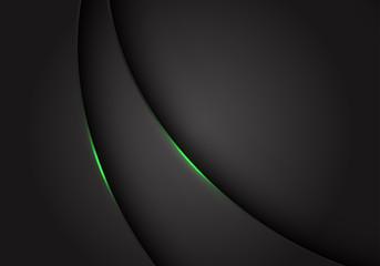 Abstract green light on dark grey grey metallic curve overlap with blank space design modern futuristic background vector illustration.