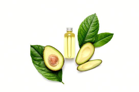 Avocado oil concept, top down view composition