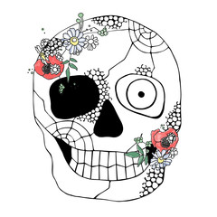 Printed roller blinds Watercolor Skull Vector hand drawn illustration of smiling skull with watercolor flowers, spider web, tooth, face of human Print horror for t shirt. Mexican style, day of the dead, halloween. Sketch, doodle drawing.