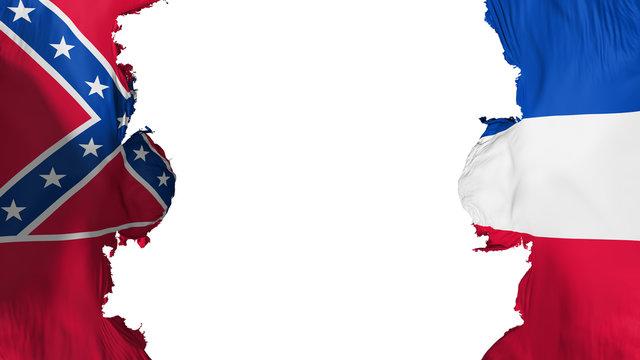 Blasted Mississippi state flag, against white background, 3d rendering