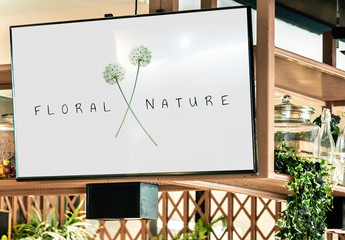 TV Screen Mockup in a Restaurant with Plants