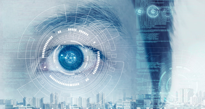 High technology that helps identify identification by scanning the eyes of the eye to check the information of the person.