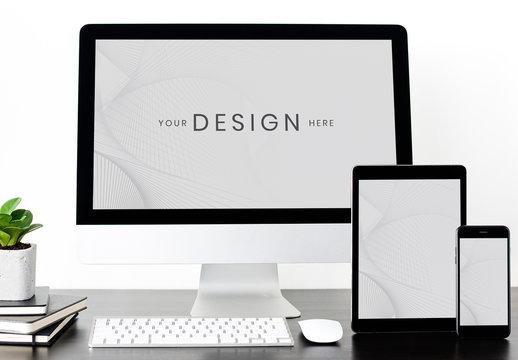 Mockup of Smartphone, Tablet, and Desktop Computer