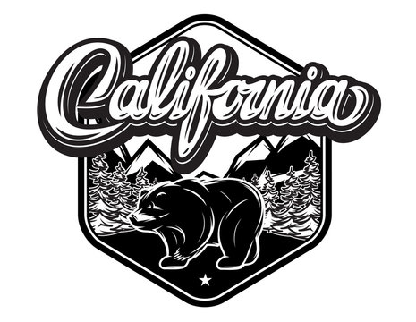 Illustration with California calligraphic lettering and bear
