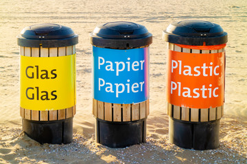 Dutch recycle waste bins for glass, paper and plastics