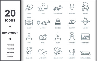 Honeymoon icons thin line set collection. Includes creative elements such as Travel, Photo, Just Married, Location, Couple, Euphile Tower and Church premium icons