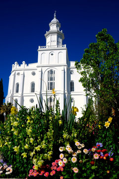 St. George Mormon LDS Temple White Stone Church Religion