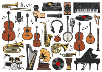 Music instruments, musical notes and equipment Wall mural
