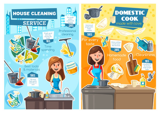 Women cooking, washing dishes. Household service