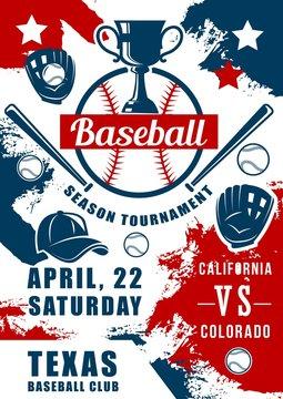 Baseball sport game balls, bats, glove with trophy