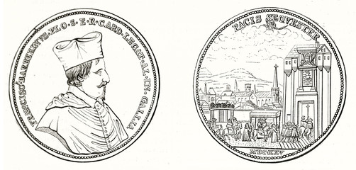 Front and back view of old french silver medal dedicated to Cardinal Francesco Barberini. Isolated outlined element on white background. By unidentified author publ. on Magasin Pittoresque Paris 1848