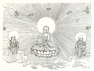 Ancient outline illustration depicting Buddha sitting on the lotus between two holy men. Behind to him, a sun releases light all around. Publ. on Magasin Pittoresque Paris 1848