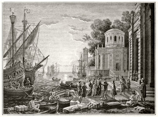 The disembarkation of Cleopatra at Tarsus ancient etching rich of classic elements as buildings, vessels, sea and sunset all arranged in a wonderful composition. Magasin Pittoresque 1848