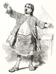 Old rough style illustration depicting the king of drunkards, full body displayed and holding a glass in a classic drunk man pose. By Gavarni publ. on Magasin Pittoresque Paris 1848
