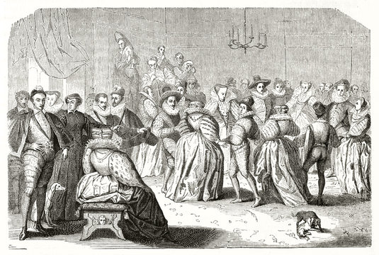 Ancient etching of the court dance (Henri III king of France). Big hall full of elegant nobles having fun and musicians on background. After Clouet publ. on Magasin Pittoresque Paris 1848