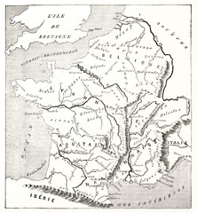 Gaule, today's France, old map such as Strabo could have designed. Blank and white illustration by MacCarthy publ. on Magasin Pittoresque Paris 1848