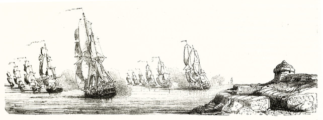 Group of warships approaching to a land. Old grayscale illustration depicting naval tactic (battle array). By unidentified author publ. on Magasin Pittoresque Paris 1848