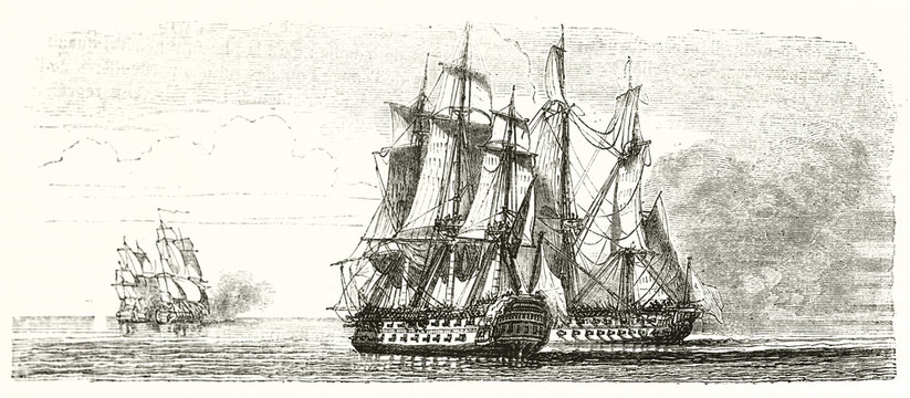Couple of warships fighting close together and another two far near the horizon. Old illustration depicting naval tactic (boarding). By unidentified author publ. on Magasin Pittoresque Paris 1848