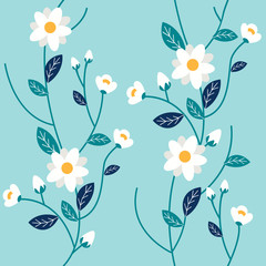 The Seamless pattern of some white flower and leaf on blue background.  Seamless pattern leaf. shape of leaf.white  flower shape on blue background in flat vector style.