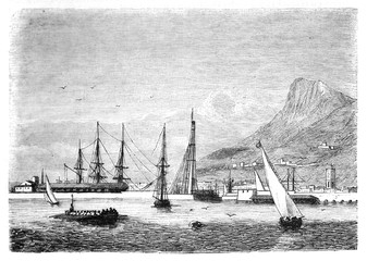 Ancient Toulon seaport viewed from the sea to the shoreline with the mountain on background. Ancient ships sayling and docked. By unidentified author publ. on Magasin Pittoresque Paris-1848