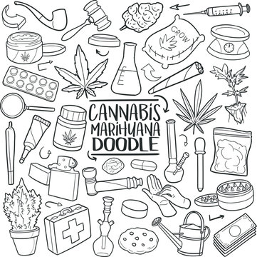 Cannabis Marihuana Traditional Doodle Icons Sketch Hand Made Design Vector