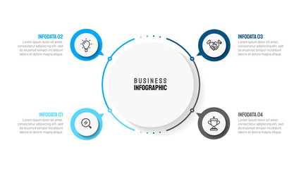 Fototapeta Business infographic template with 4 step, option, circle and marketing icons. Can be used for workflow diagram, annual report, presentation or web design. Vector eps10 illustration. obraz