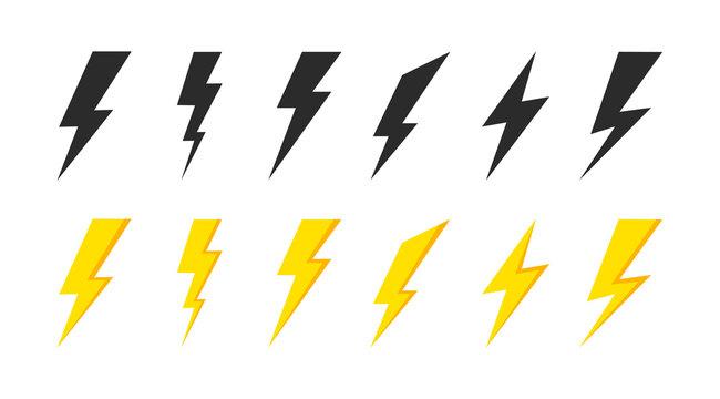 Lightning icons set. Thunder and Bolt. Flash icon. Lightning bolt. Black and yellow silhouette. Vector Illustration.