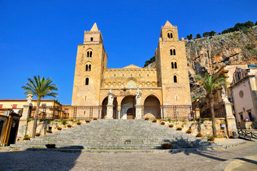 View of the Norman Cathedral of Cefalu, Sicily, Italy during summer
