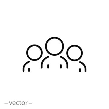 business client icon, people group line sign - vector illustration eps10