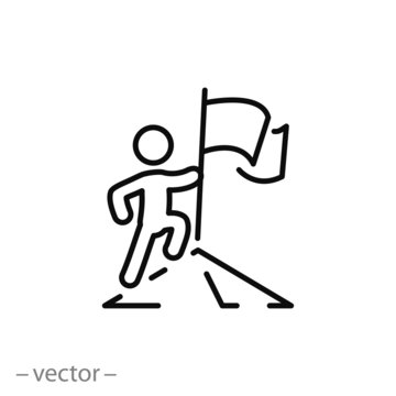 leader competition icon, leadership success, man with flag achieved victory, line symbol on white background - editable stroke vector illustration eps10