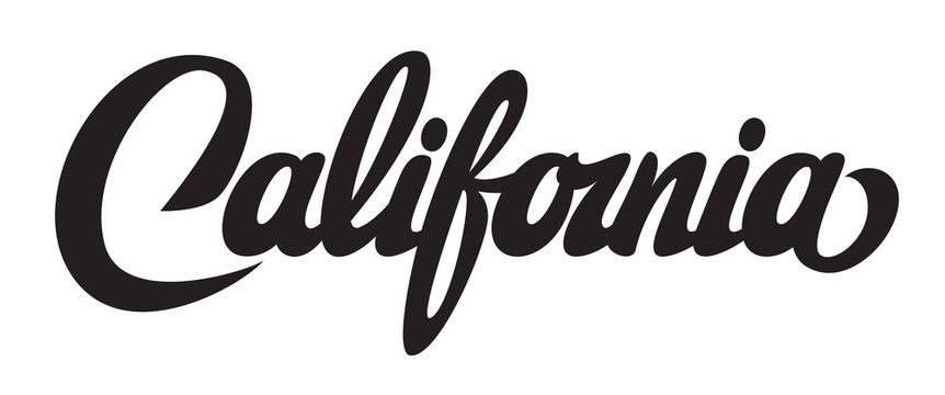 Vector illustration with calligraphic lettering California on white background