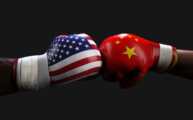 Concept of trade war between USA and China. 3d illustration two boxer fighting US and China flag trading punches for the concept: Trade War. Fototapete