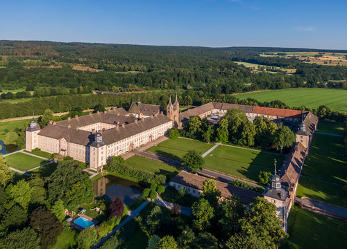 Aerial view of The Princely Abbey of Corvey in North Rhine-Westphalia, Germany