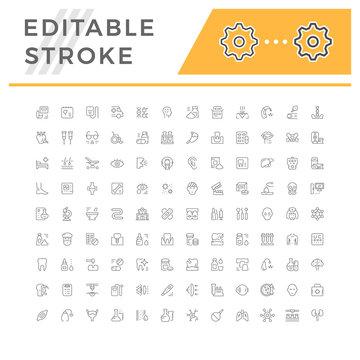 Set editable stroke line icons of medicine