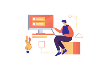A young man working on a project. Digital technology. Development and implementation of computer applications. Vector illustration.