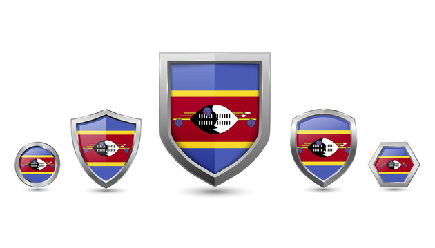 Set of swaziland country flag with metal shape shield badge
