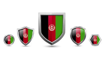 Set of afghanistan country flag with metal shape shield