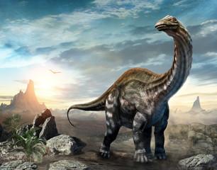 Wall Mural - Apatosaurus dinosaur scene 3D illustration