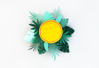 Circular Card with Tropical Leaf Illustrations Mockup