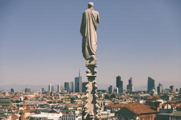 Keuken foto achterwand Milan Panoramic view of Milan city with modern buildings from Milan Cathedral
