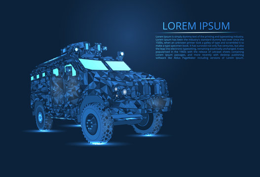 Abstract image of armored vehicles, military equipment, tank. Polygonal image in the form of lines, shapes. Camouflage, protective color.