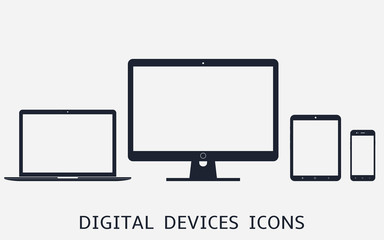 Set of digital devices icons vector illustration of responsive web design