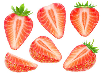 Isolated strawberry pieces. Collection of cut strawberry fruits isolated on white background with clipping path