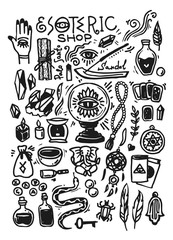 Esoteric shop doodles collection. Illustration with hand drawn magic elements.