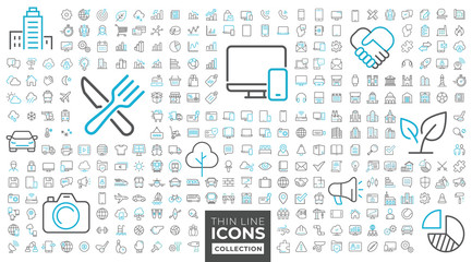 Fototapete - Thin line icons collection