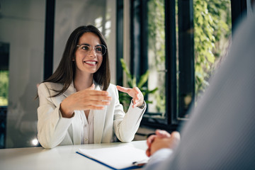 Beautiful female financial adviser talking to a client.