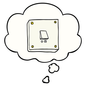 cartoon light switch and thought bubble