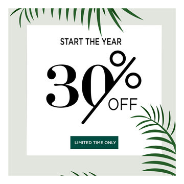 Tropical summer palm tree leaves with 30 % discount. Sale banner template design. Big sale special offer. 30 percent discount special banner for poster, flyer, brochure, sticker. Vector illustration.