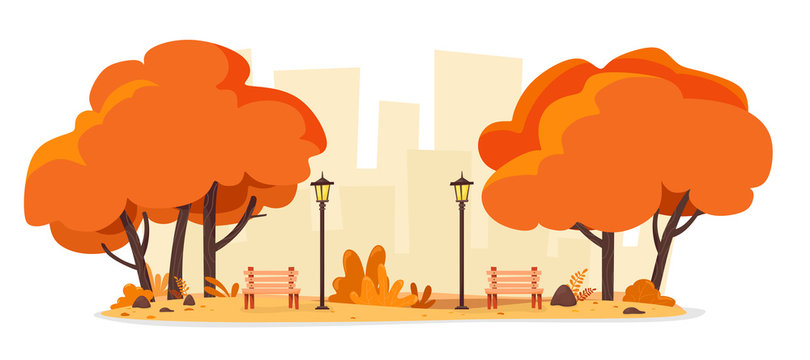 Autumn city park with benches and street lamps. Vector illustration of a flat style.