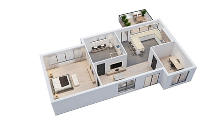 modern interior design, isolated floor plan with white walls, blueprint of apartment, house, furniture, isometric, perspective view, 3d rendering Fotobehang